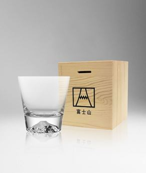 Picture of [Tajima Glass] Fujiyama Mount Fuji Rocks Glass, Wooden Case With Glass In 10OZ